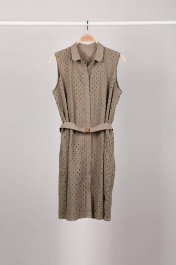 Women's Khaki Button-Lined Scalloped Dress - Thumbnail