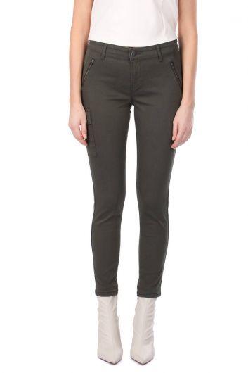 Women's Skınny Jean Trousers With Khaki Cargo Pockets - Thumbnail