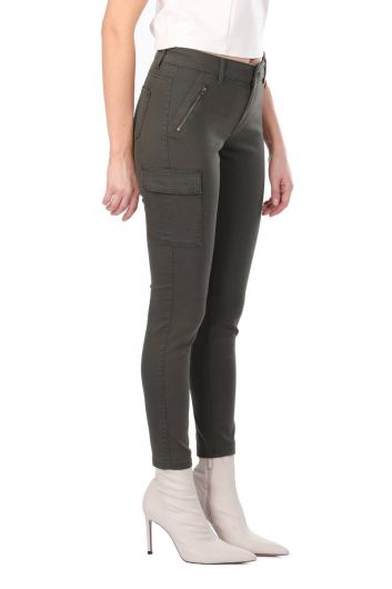 MARKAPIA WOMAN - Women's Skınny Jean Trousers With Khaki Cargo Pockets (1)