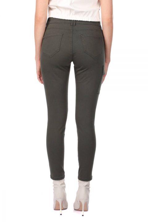 Women's Skınny Jean Trousers With Khaki Cargo Pockets