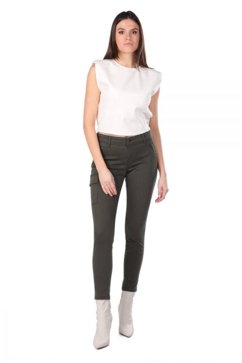 Women's Skınny Jean Trousers With Khaki Cargo Pockets