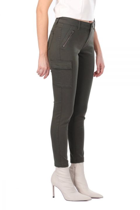 Женские брюки Skınny Jean с карманами карго цвета хаки
