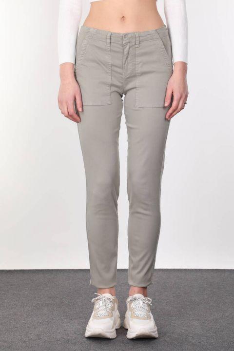 Khaki Pocket Women Jean Trousers