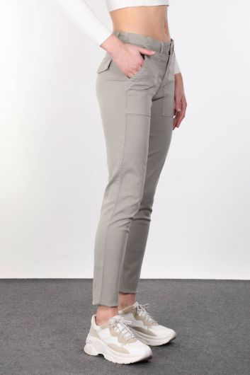 MARKAPIA WOMAN - Khaki Pocket Women Jean Trousers (1)