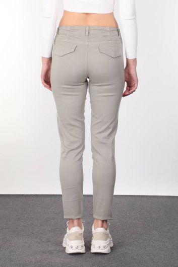 Khaki Pocket Women Jean Trousers - Thumbnail