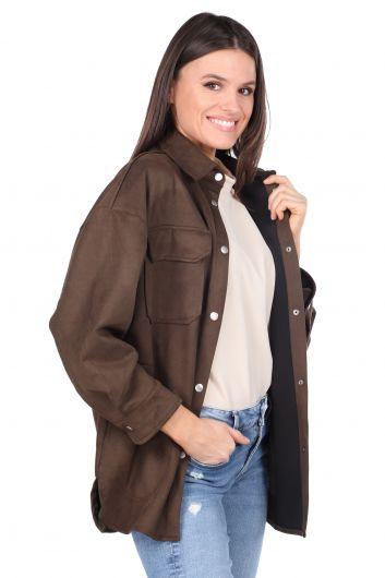 MARKAPIA WOMAN - Замшевая женская куртка цвета хаки (1)
