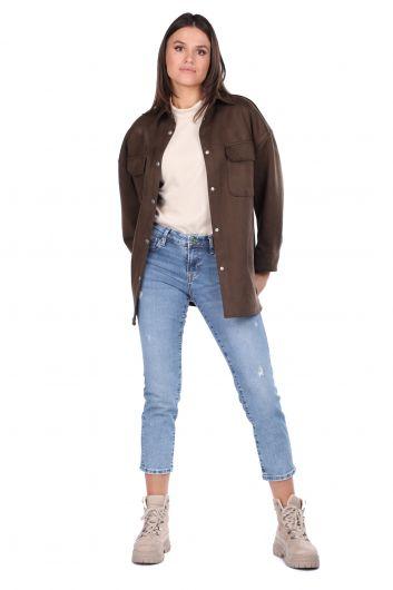 Khaki Suede Women's Jacket - Thumbnail