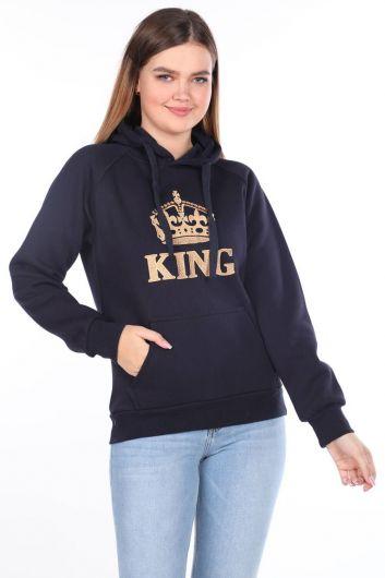 Женская флисовая толстовка с капюшоном King Applique - Thumbnail