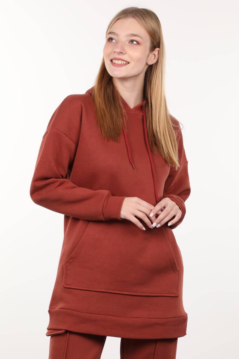 Kiremit Şardonlu Kapüşonlu Kadın Sweatshirt