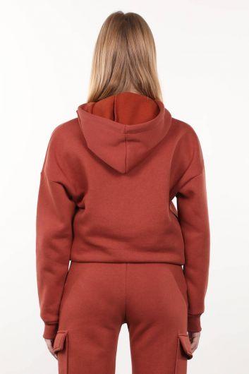 Kiremit Şardonlu Kapüşonlu Kadın Sweatshirt - Thumbnail