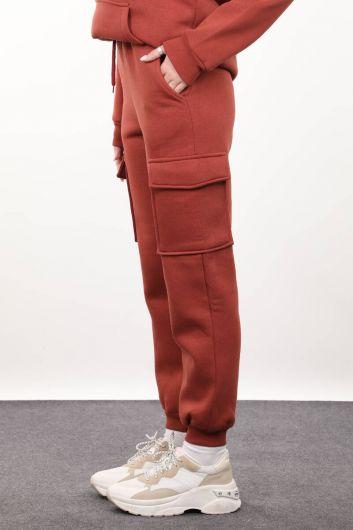 MARKAPIA WOMAN - بنطال نسائي من البلاط مع جيوب للشحن (1)