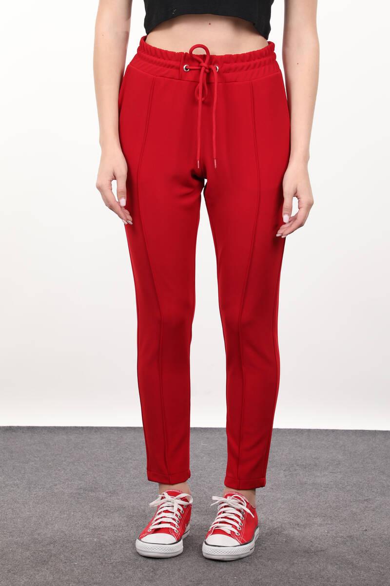 Kırmızı Belden Bağlamalı Kadın Pantolon
