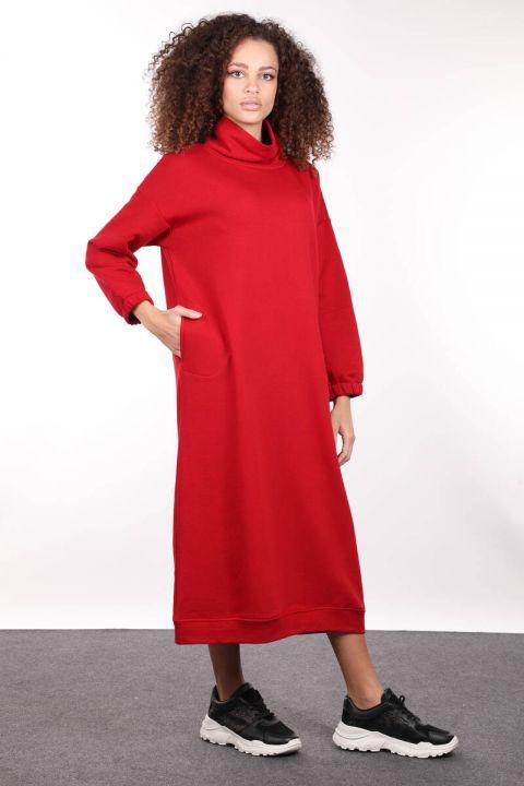 Kırmızı Boğazlı Basic Kadın Sweat Elbise