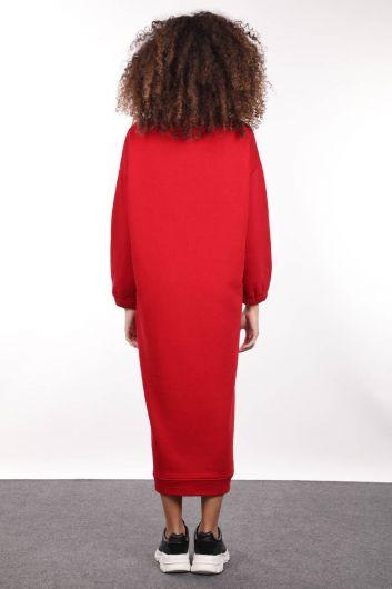 Kırmızı Boğazlı Basic Kadın Sweat Elbise - Thumbnail