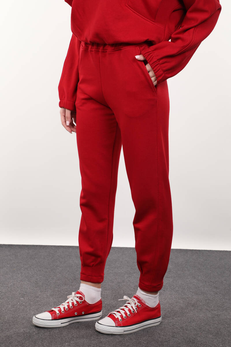 Kırmızı Paçası Pensli Kadın Eşofman Altı