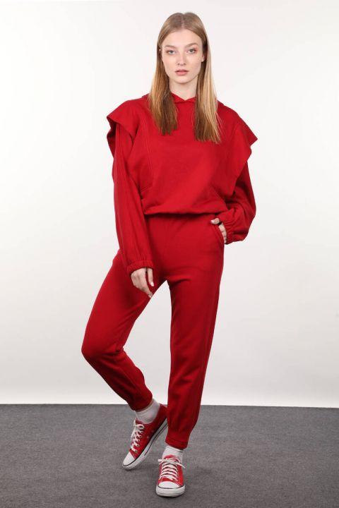 Kırmızı Vatkalı Kapüşonlu Kadın Eşofman Takımı