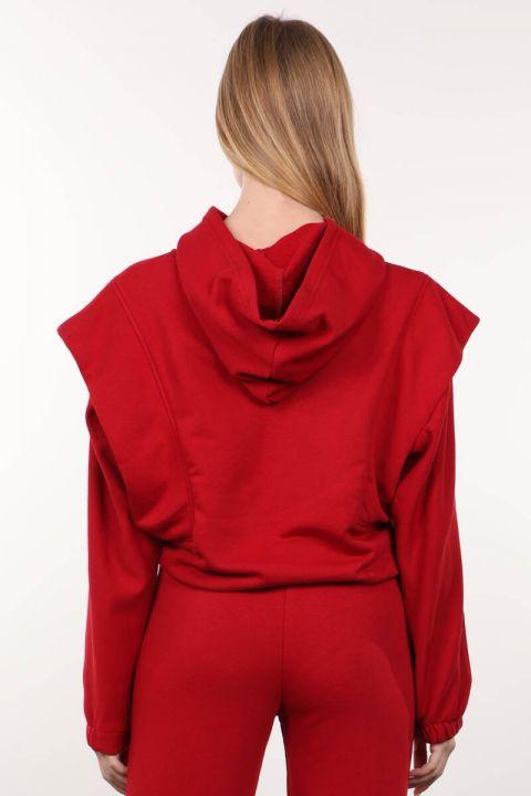 Kırmızı Vatkalı Kapüşonlu Kadın Sweatshirt