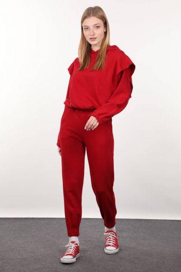 Kırmızı Vatkalı Kapüşonlu Kadın Sweatshirt - Thumbnail