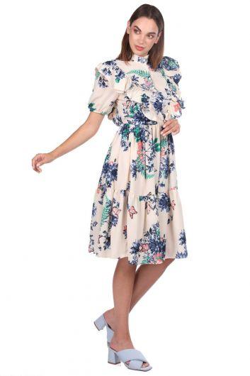 MARKAPIA WOMAN - فستان كريمي منقوش بأكمام قصيرة (1)