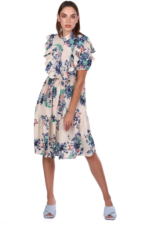 Kısa Kollu Çiçek Desenli Krem Elbise