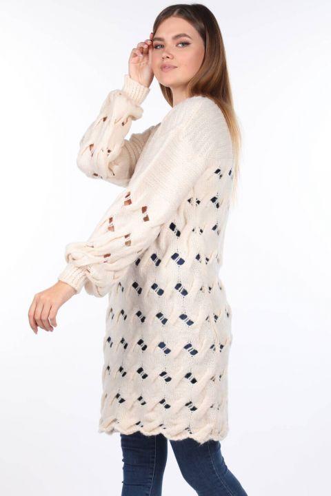 Knitted Long Ecru Women Knitwear Sweater