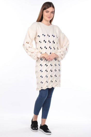 Knitted Long Ecru Women Knitwear Sweater - Thumbnail
