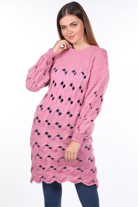 Вязаный длинный розовый женский трикотажный свитер