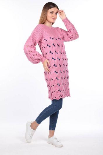 Вязаный длинный розовый женский трикотажный свитер - Thumbnail