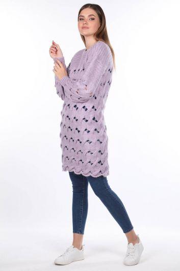 Вязаный длинный сиреневый женский трикотажный свитер - Thumbnail