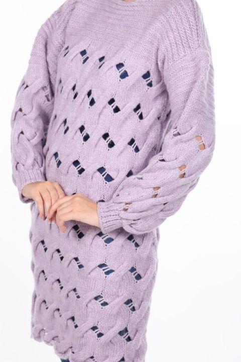 Вязаный длинный сиреневый женский трикотажный свитер
