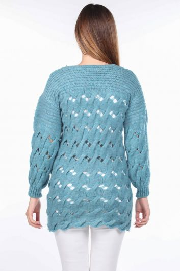 Knitted Long Blue Women's Knitwear Sweater - Thumbnail