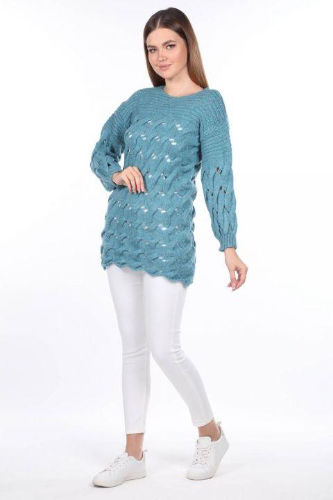Knitted Long Blue Women's Knitwear Sweater