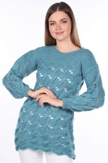 Вязаный длинный синий женский трикотажный свитер - Thumbnail