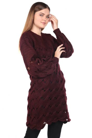 Knitted Long Claret Red Knitwear Sweater - Thumbnail