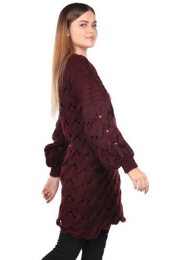MARKAPIA WOMAN - Вязаный длинный бордово-красный трикотажный свитер (1)