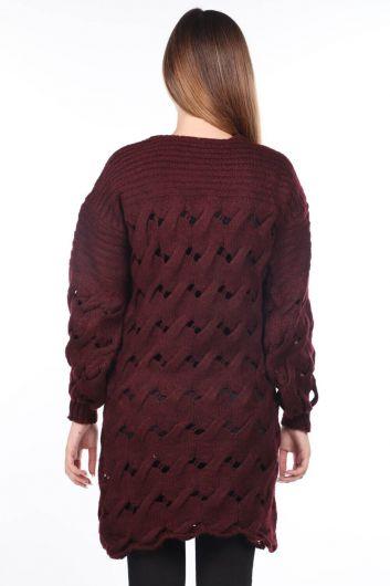 Вязаный длинный бордово-красный трикотажный свитер - Thumbnail