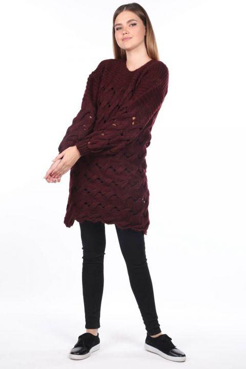 Вязаный длинный бордово-красный трикотажный свитер