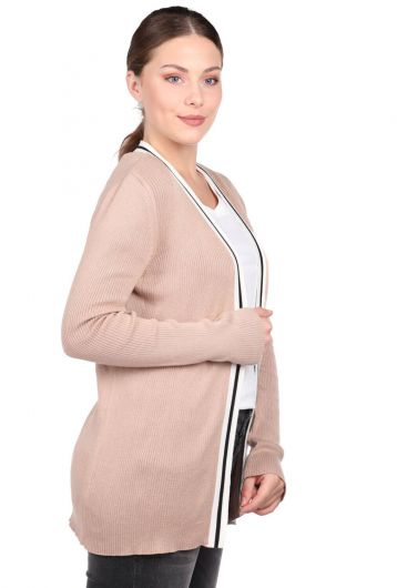 MARKAPIA WOMAN - Beige Stripe Detailed Open Front Women's Knitwear Cardigan (1)