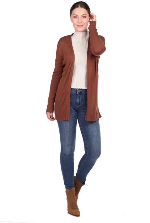 Brown Open Front Pocket Women's Knitwear Cardigan