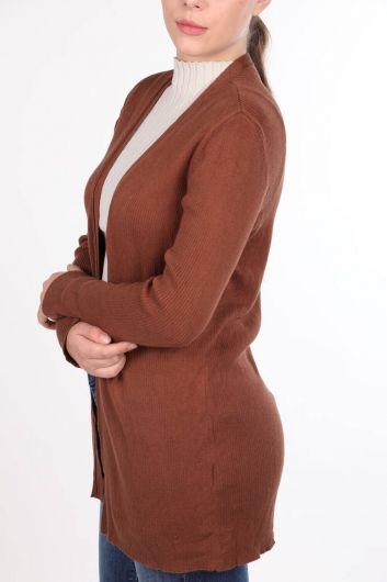 Коричневый женский трикотажный кардиган с открытым передним карманом - Thumbnail