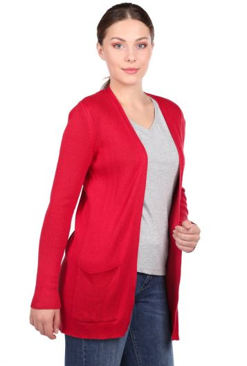 MARKAPIA WOMAN - LONG SLEEVE POCKET RED CARDIGAN (1)