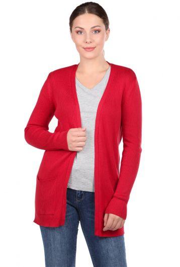Красный женский трикотажный кардиган с открытыми карманами - Thumbnail