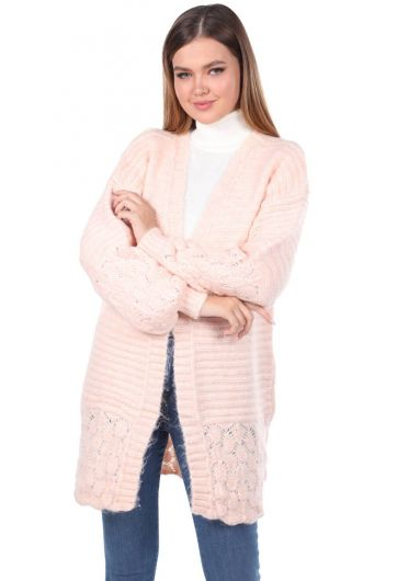 Knitted Pattern Detailed Knit Cardigan - Thumbnail