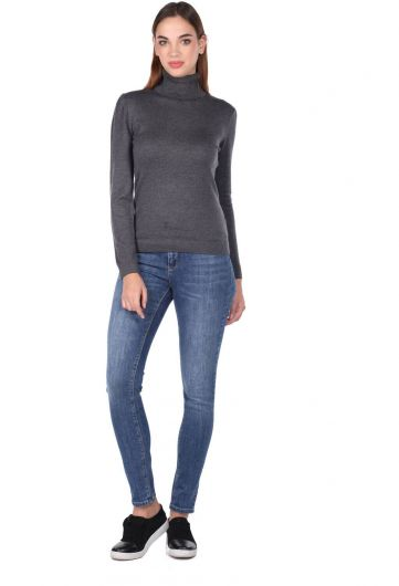 Turtleneck Gray Knitwear Sweater - Thumbnail