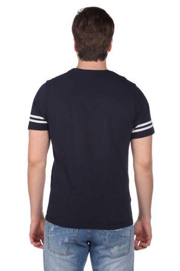 Koldan Çizgili Erkek T-Shirt - Thumbnail
