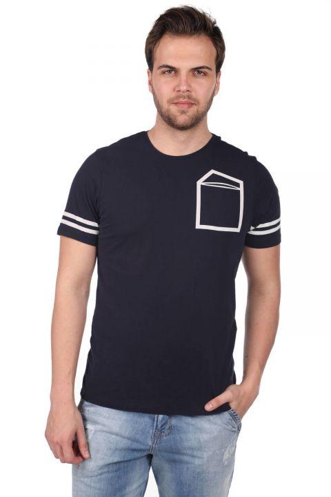 Koldan Çizgili Erkek Bisiklet Yaka T-Shirt
