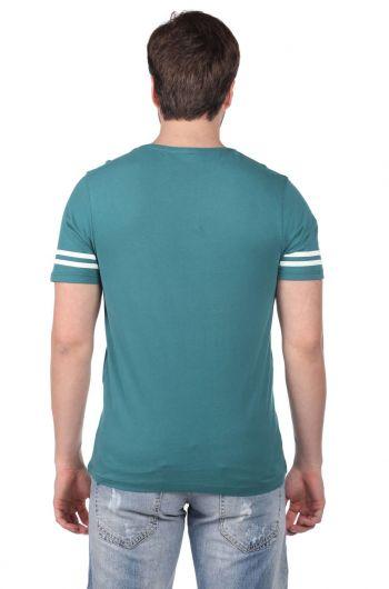 Koldan Çizgili Erkek Bisiklet Yaka T-Shirt - Thumbnail