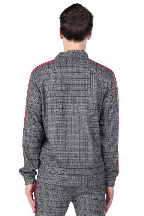 Kolları Şeritli Ekose Fermuarlı Erkek Sweatshirt
