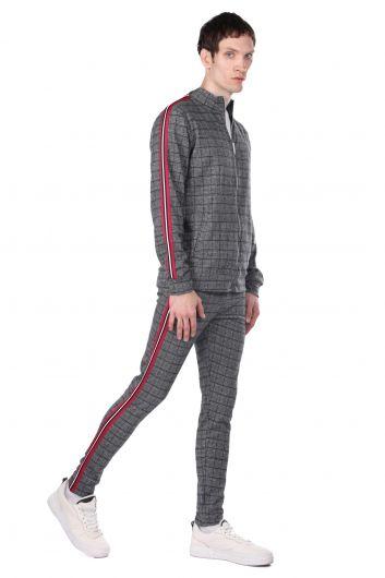 Kolları Şeritli Ekose Fermuarlı Erkek Sweatshirt - Thumbnail