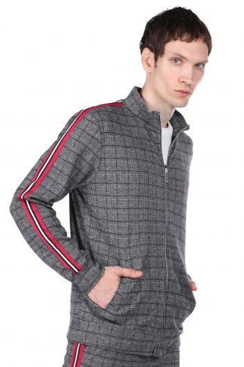 MARKAPIA MAN - Kolları Şeritli Ekose Fermuarlı Erkek Sweatshirt (1)
